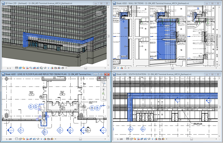 This view of the REVIT workspace shows the office building's canopy in 3D, section, elevation and plan.